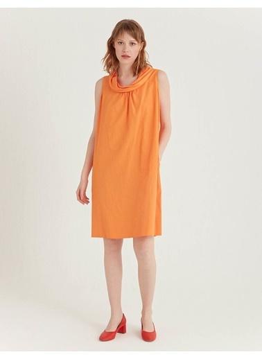 BGN Turuncu - Yaka Detaylı Poplin Elbise Oranj